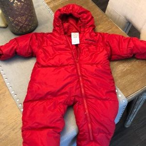Columbia snowsuit, gender neutral. 18 months, red
